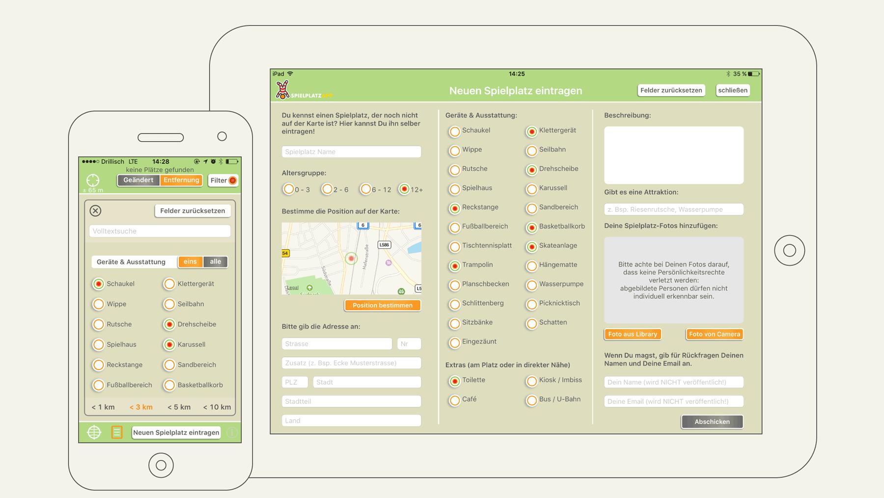 Spielplatz App - Ansicht Nutzeroberfläche neuer Eintrag