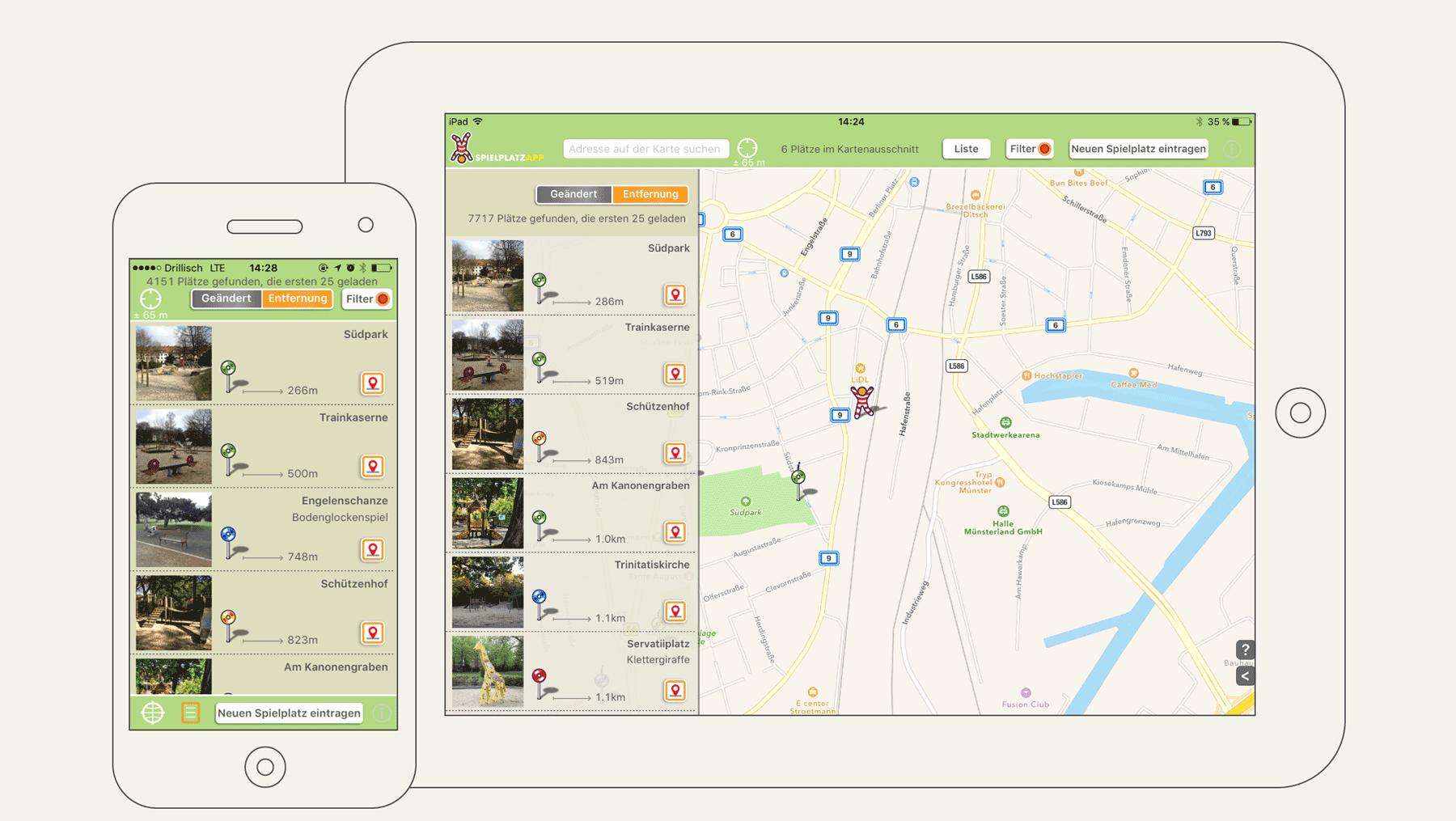 Spielplatz App - Ansicht Nutzeroberfläche Spielplätze