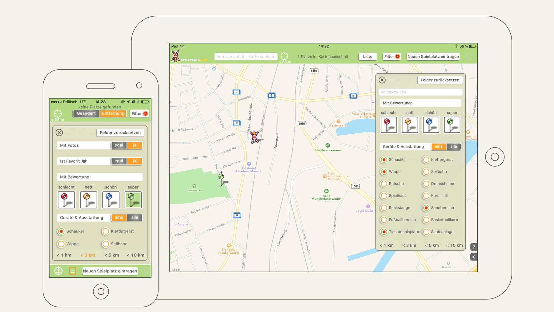 Spielplatz App - Ansicht Nutzeroberfläche Suche