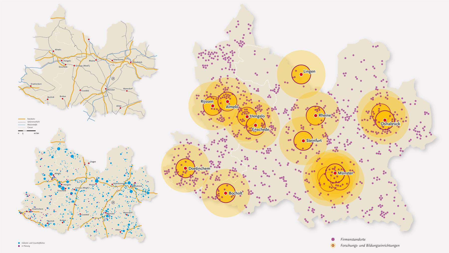 Euregio-Karten-Firmen-Industrie-Logistik-Forschung-Bildung-Infrastruktur