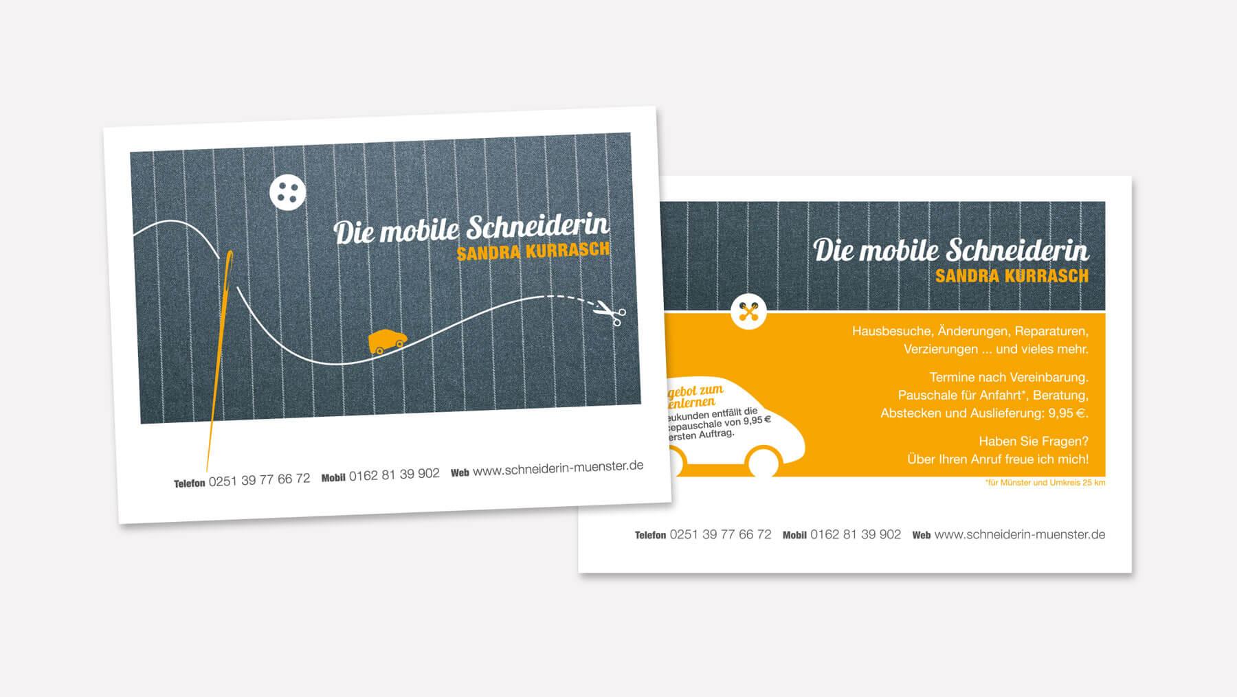Mobile-Schneiderin-Flyer-Werbung-Postkarte